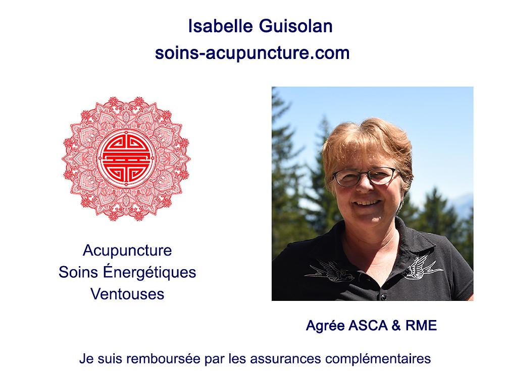Isabelle Guisolan soins-acupuncture.com Médecine Traditionnelle Chinoise - MTC Acupuncture, soins énergétiques, ventouses Agrée ASCA, RME