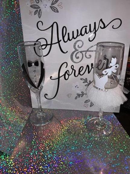 Custom Wedding Wine Glass