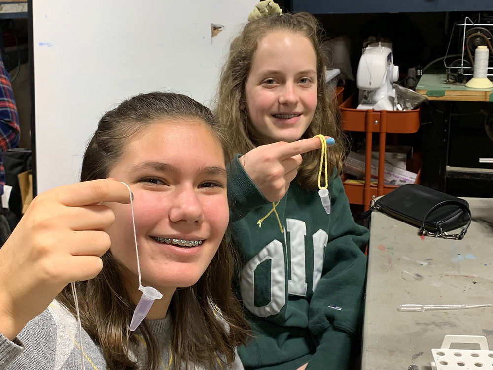 Our middle school girls showing off their DNA
