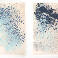 """Screenprint Diptych, double sided Each panel 37"""" x 25"""" 2019"""
