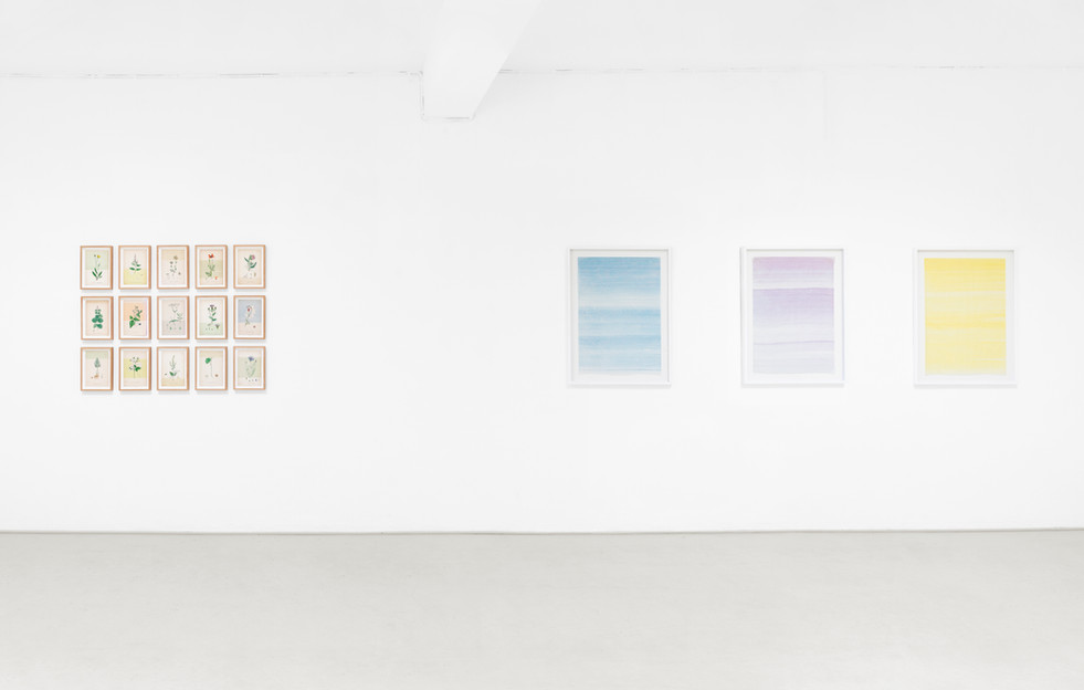 Exhibition installation view, Irgendwas mit Space, Galerie Herold, Bremen, Germany (2018), Cornwall Conversation Piece & One word drawings (freely, authentically, creatively)