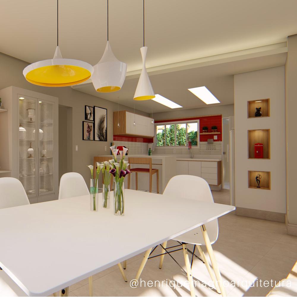 Living superior da CASA D L. Projeto e Render: Henrique Magno Arquitetura