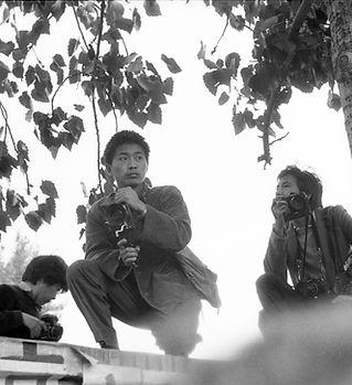 Filmmaker Chi Xiaoning atop Democracy Wa