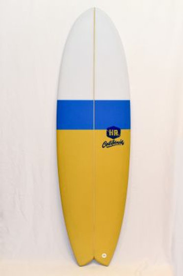SURFBOARD HR CALIFORNIA RETRO FISH - WHITE/BLUE/MUSTARD