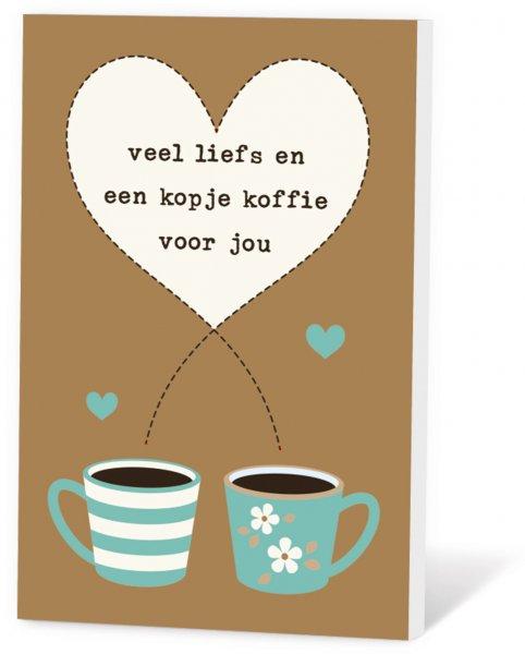 Koffie in een kaart - Veel liefs en een kopje koffie voor jou
