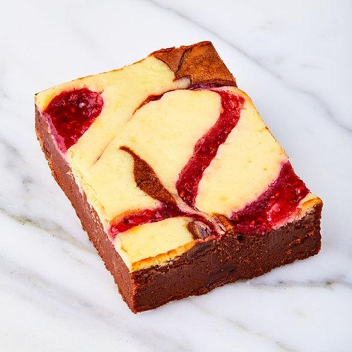 Brownie cheesecake framboos