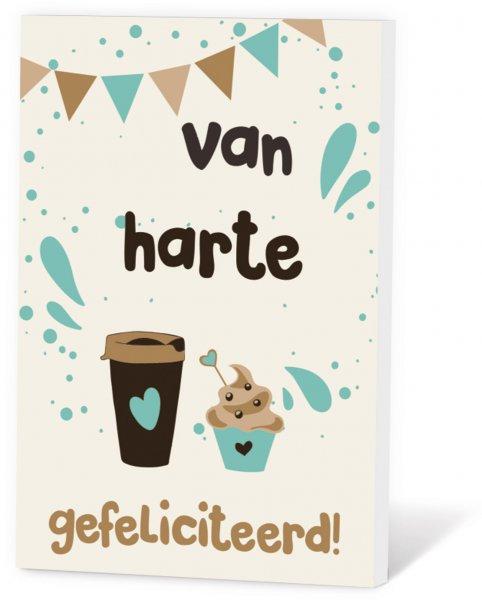 Koffie in een kaart - van harte gefeliciteerd!