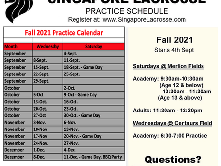 SLA 2021 Fall Practice Schedule