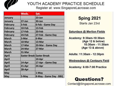 SLA 2021 Spring Practice Schedule