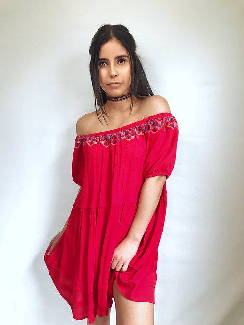 Red off the shoulder tunic/dress