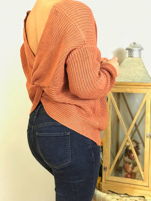 Twist Knotted Back Sweater