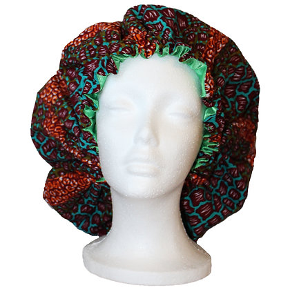 Adjustable African Print Hair Bonnet (Satin inside)