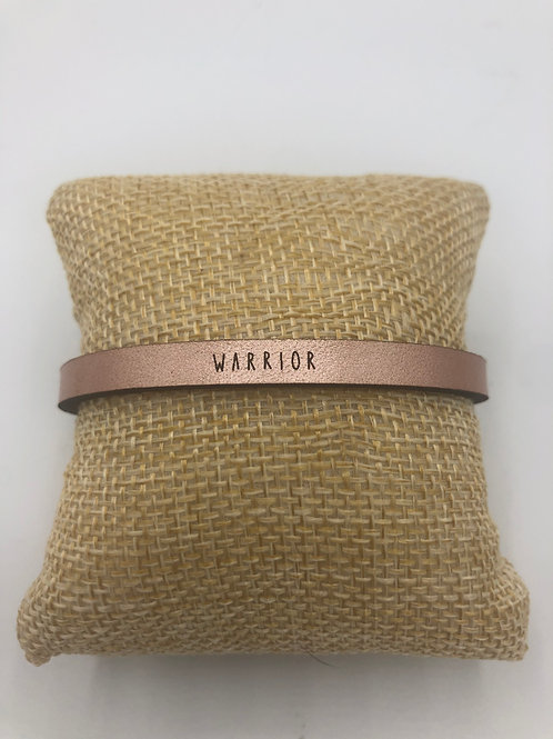 Leather Rose Gold Warrior Bracelet