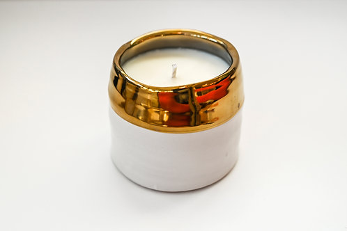 WHITE AND GOLD CANDLE