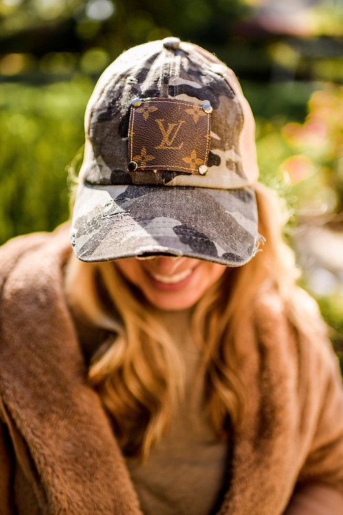 Distressed Camo Hat with authentic reclaimed LV patch