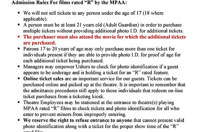 Admission Rules For films rated R 201910