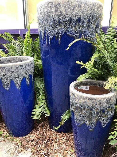 "Volcanic Blue Tall Round 26"" Ceramic Pot"
