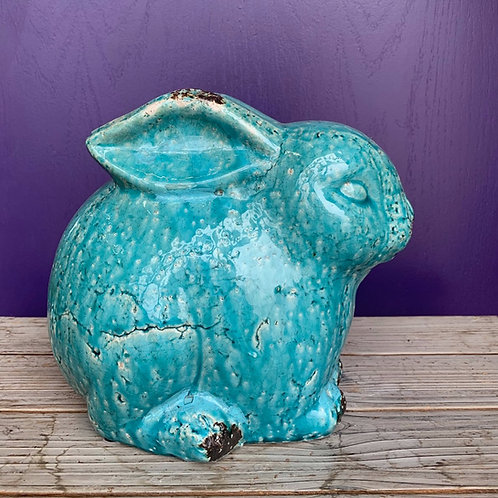 Ceramic Bunny Antique Teal-Small