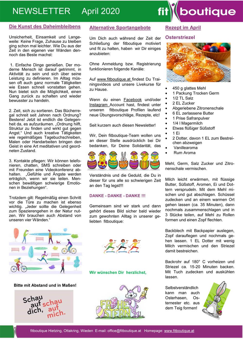 fitboutique Newsletter April 2020