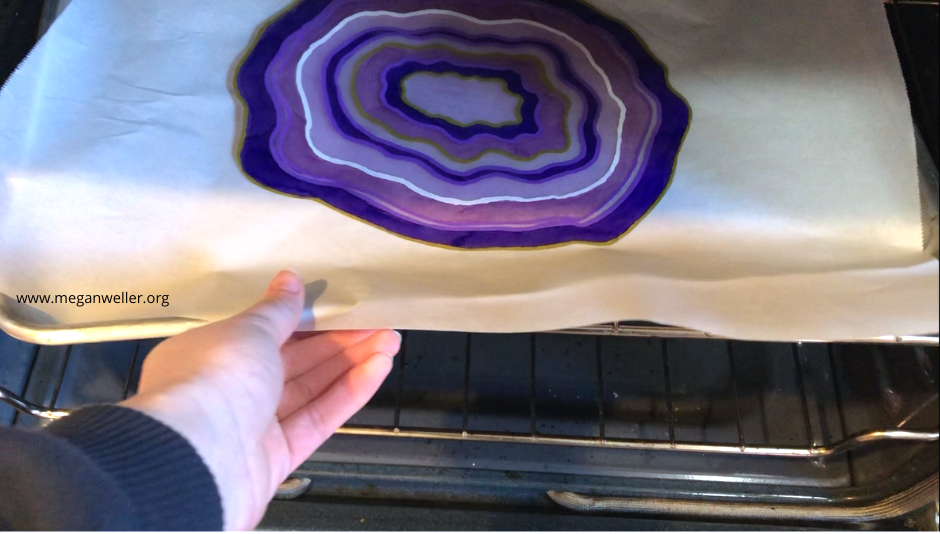 Place the geode Shrinky Dink cutout in the oven for 3 minutes at 325 degrees.