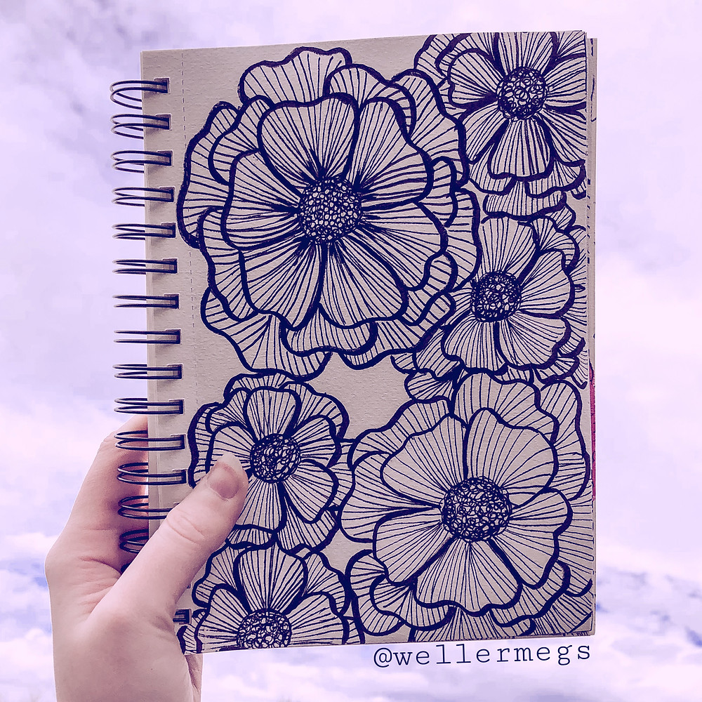 Zentangle style flower drawing, easy drawing ideas for spring.