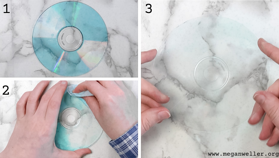 If your CD has any blue residue left on it, it ca. be removed with a Clorox wipe or soap and water.