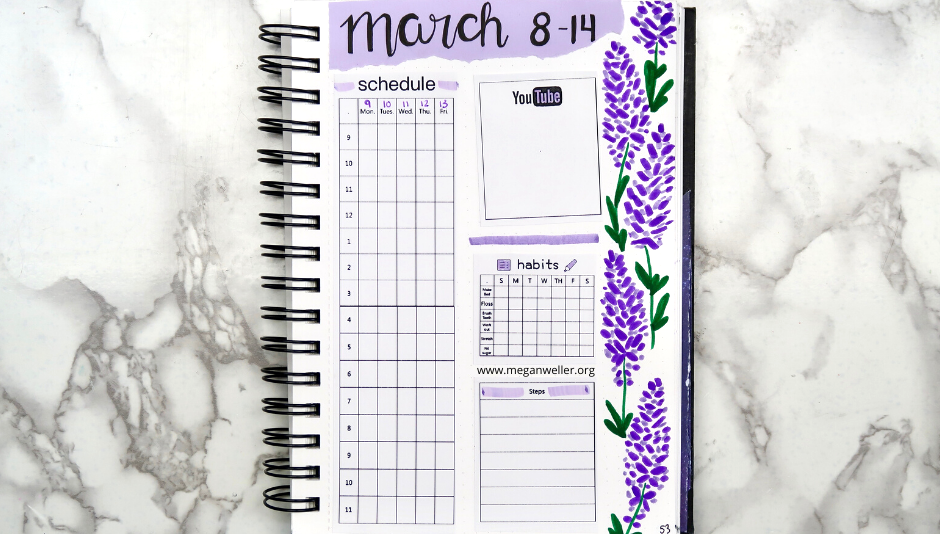 March Bullet Journal Weekly Layout made with the Phomemo Printer