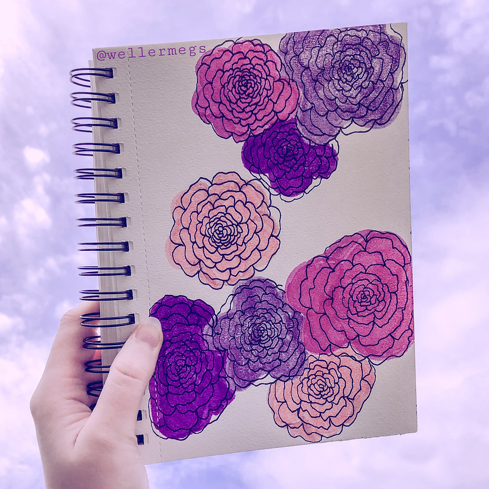 Easy Rose drawing, how to draw a rose, ktscanvases style flowers.