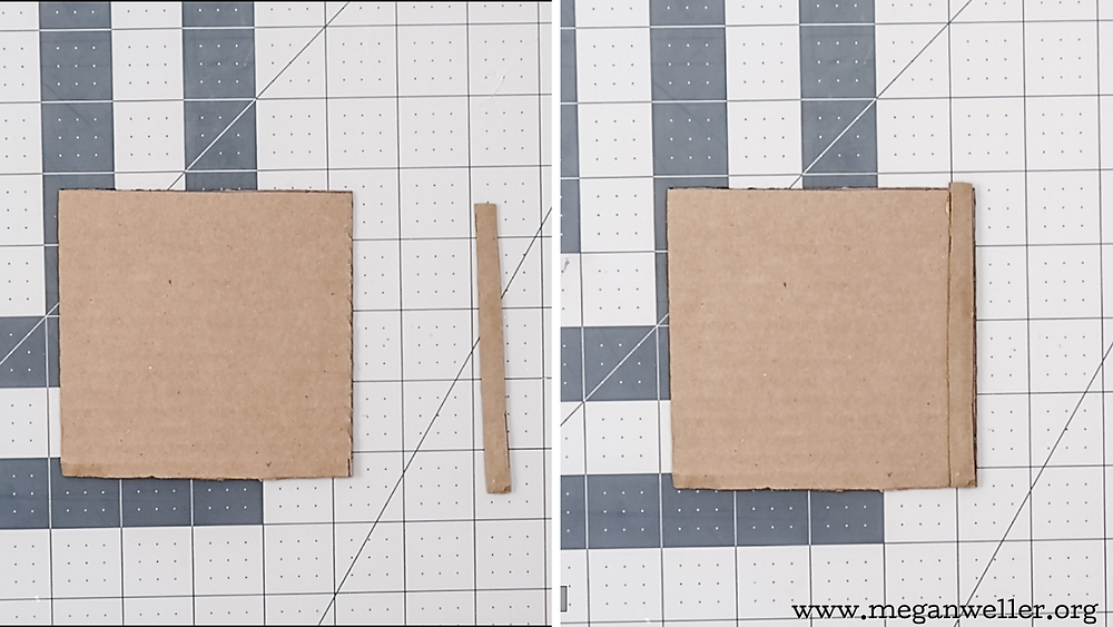 Cut a strip of cardboard, and hot glue it to the edge of the square.