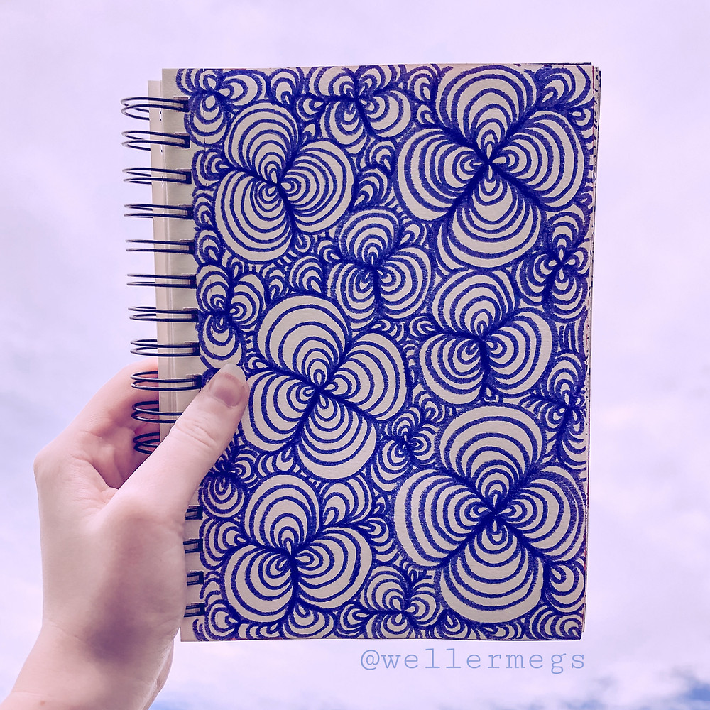 Clover field style zentangle doodle op art illusion, how to draw.