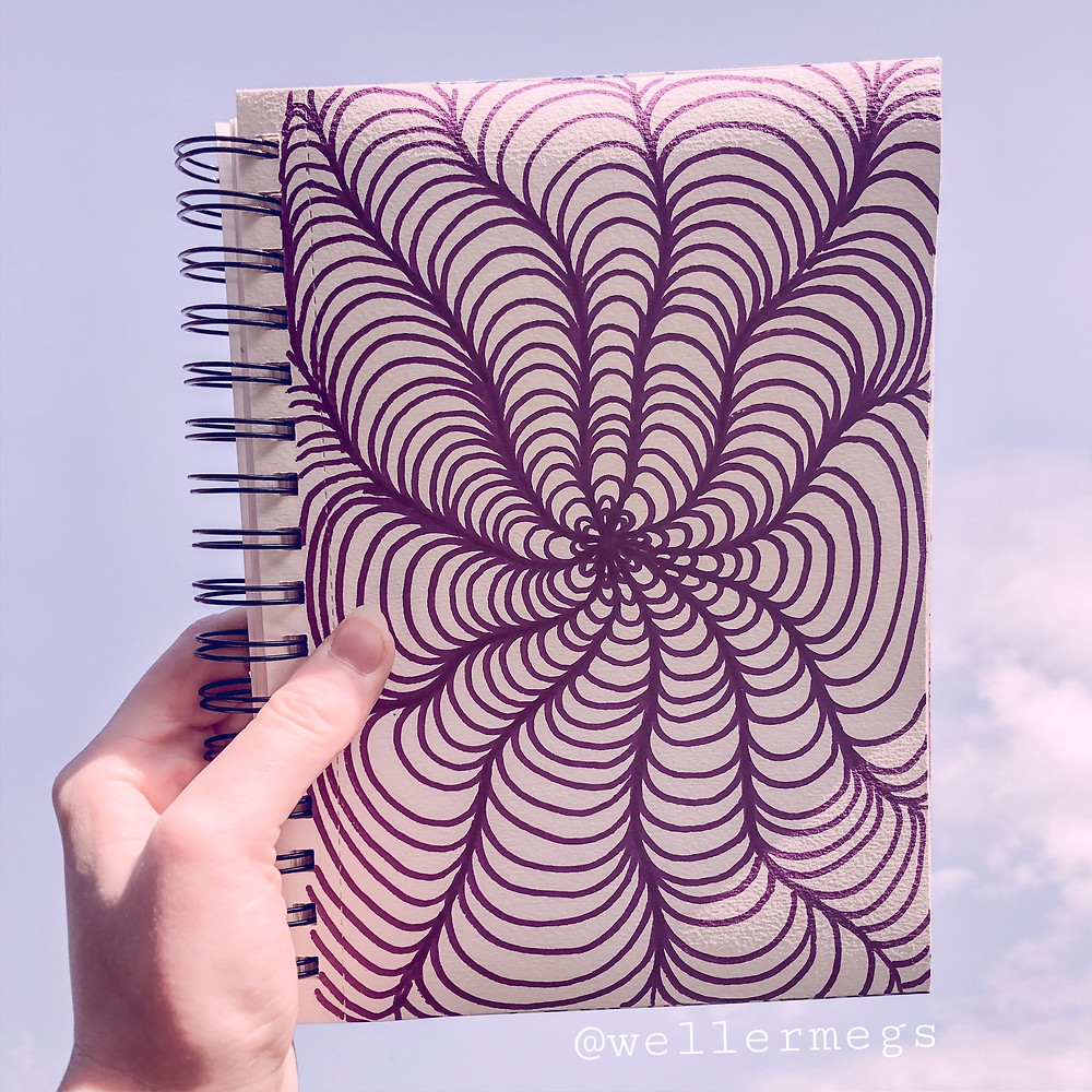 Spiral Zentangle Doodle pattern, relaxing drawing ideas.