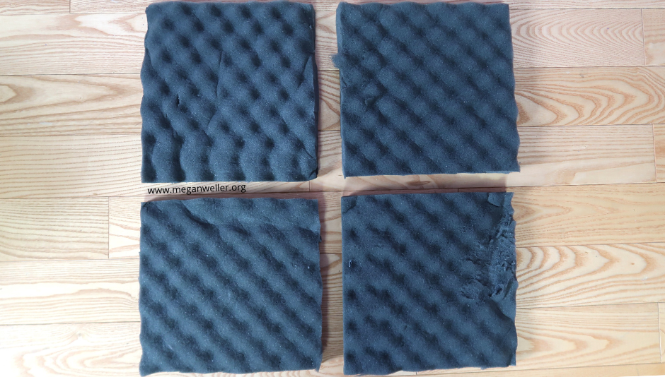 4 squares cut from a foam mattress topper to make a soundproof box