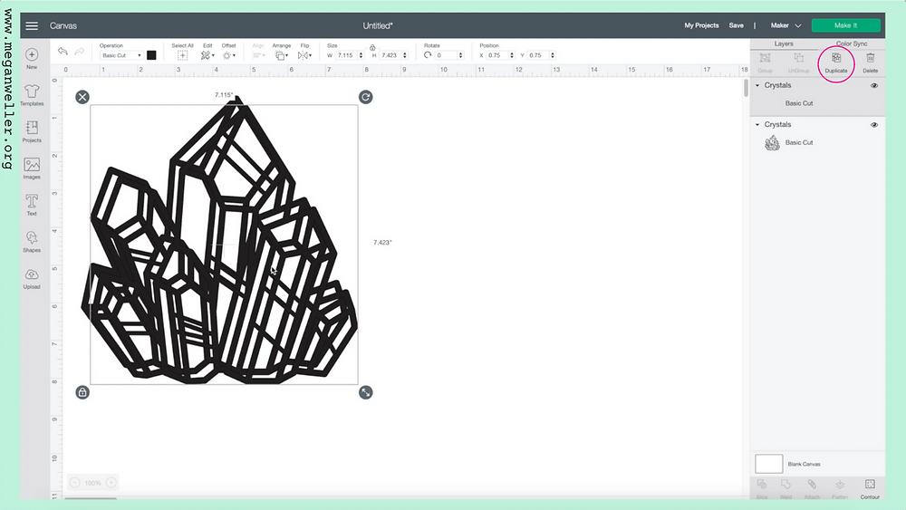 How to duplicate an image in cricut design space.