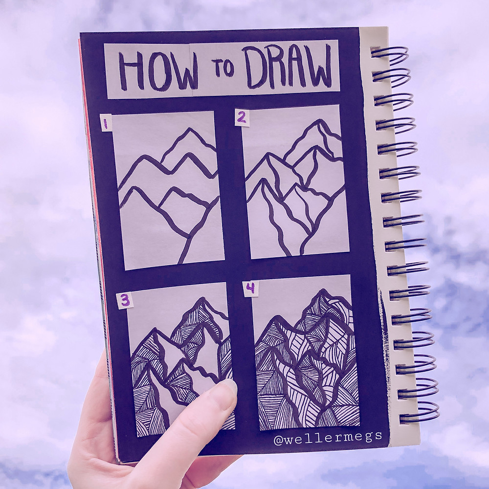 How to draw mountains with micron pens filled with zentangle patterns.