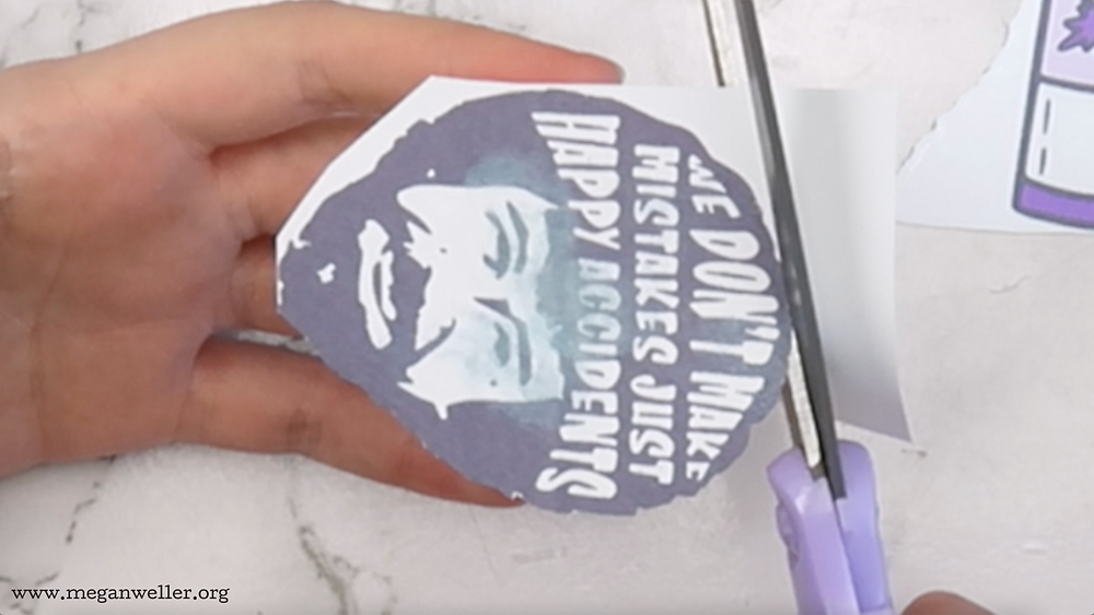 Cutting out printable Shrinky Dinks. How to stop ink from smudging.  Bob Ross - We don't make mistakes, just happy accidents.
