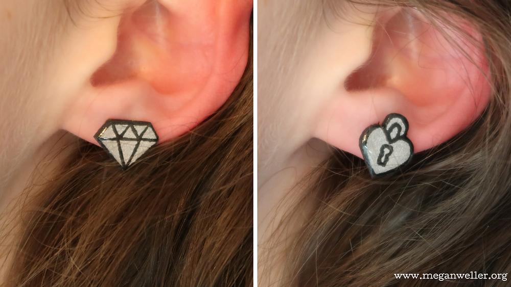 Diamond earring, heart shaped lock earring, how to make earrings.