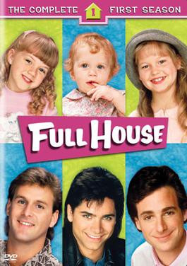 Full House season 1, starring Mary-Kate and Ashley Olsen, Jodie Sweetin, Candace Cameron, Bob Saget, Dave Coulier, and John Stamos.