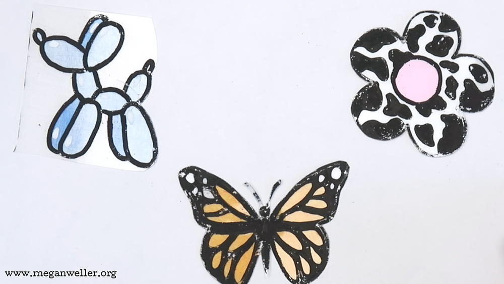 You can't color in large areas on the smooth side of the Shrinky Dink plastic with a paint pen. Use paint pens on the rough side for the beast results.