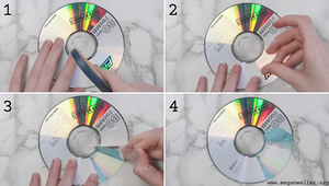 How to make a clear CD - scratch the top of the CD, put a piece of clear packing tape on top, and peel off the tape.