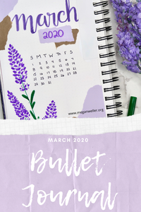 March Bullet Journal Pinterest Graphic ft. Lavender cover page.