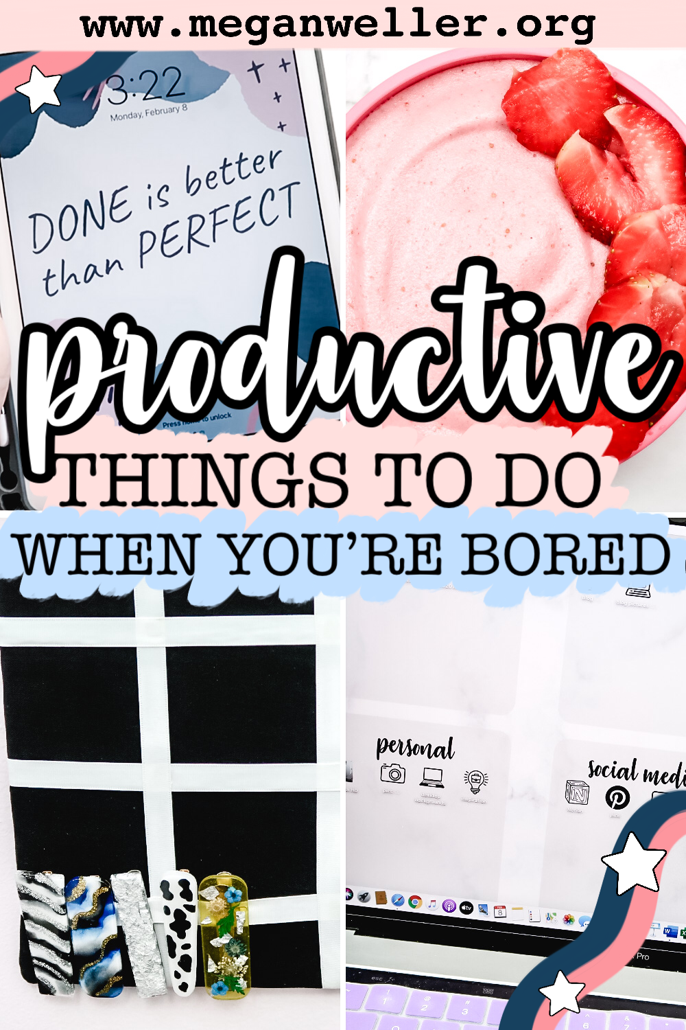 Productive things to do when you're bored. How to organize your desktop. Crafts to make with cardboard. How to organize your iPad. How to make a smoothie bowl.