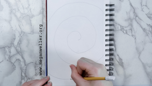 Start by drawing a spiral shape on your paper with a pencil.
