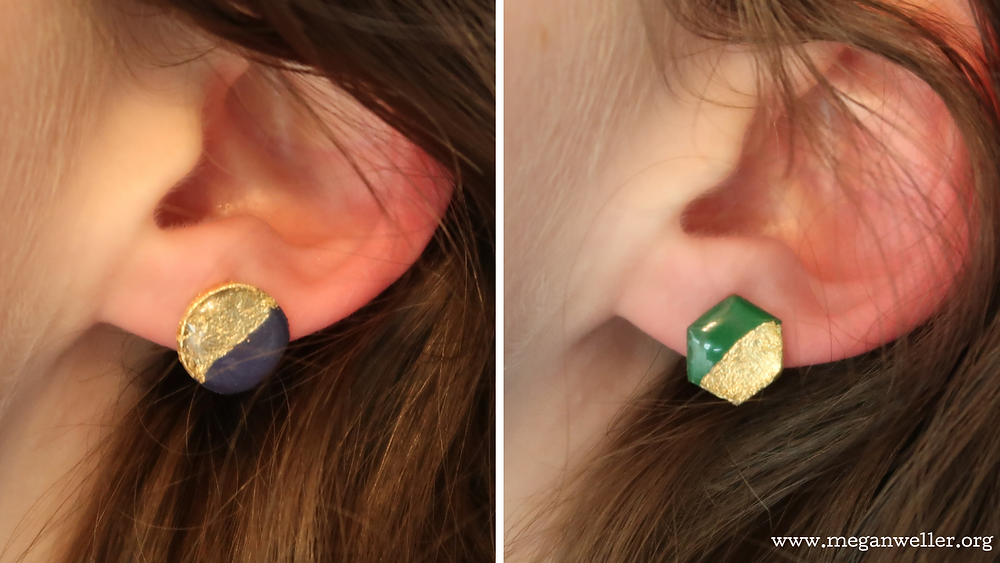 How to make earrings with a Cricut. How to use gold leaf. Easy DIY earrings.