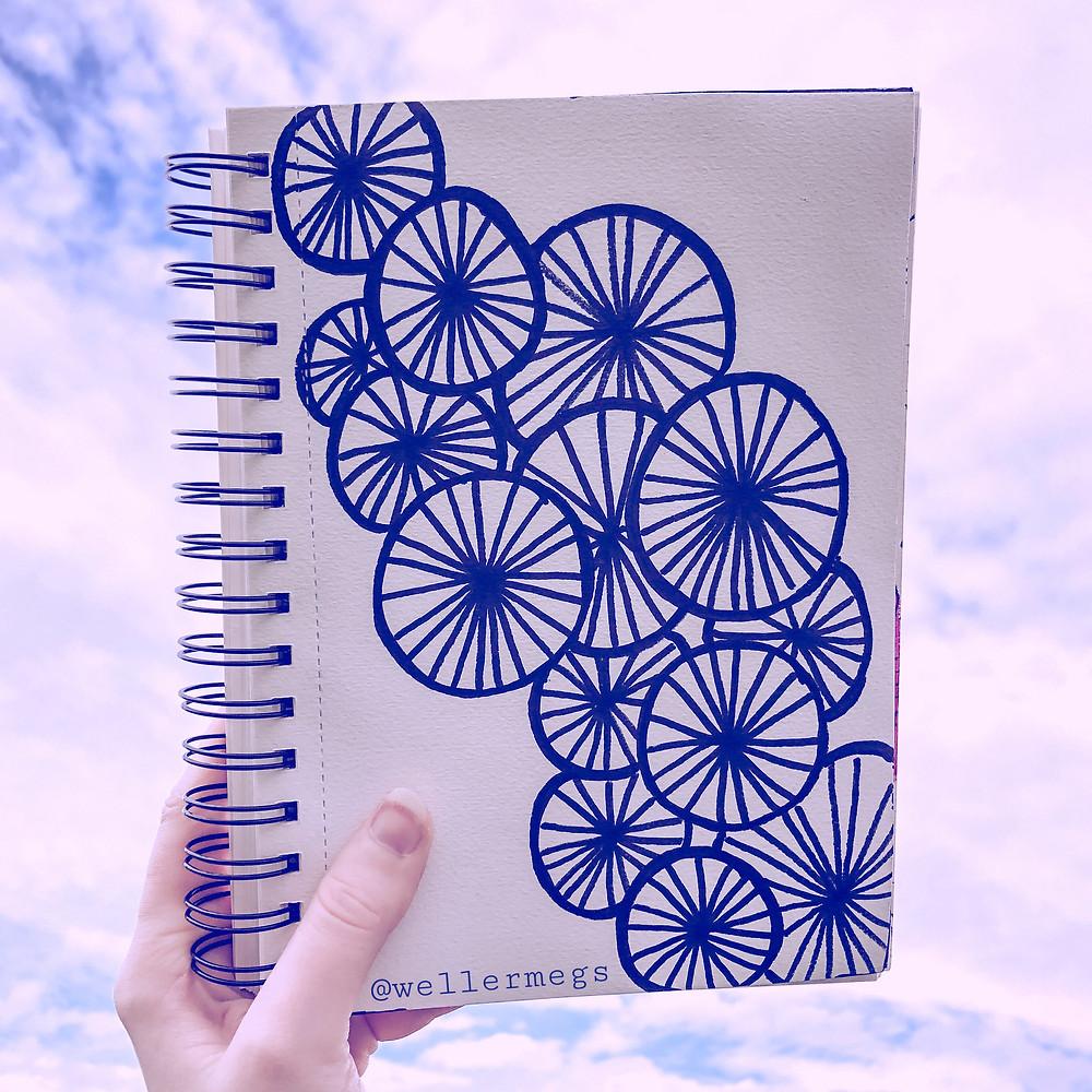 """""""Wagon Wheel"""" doodle zentangle art"""