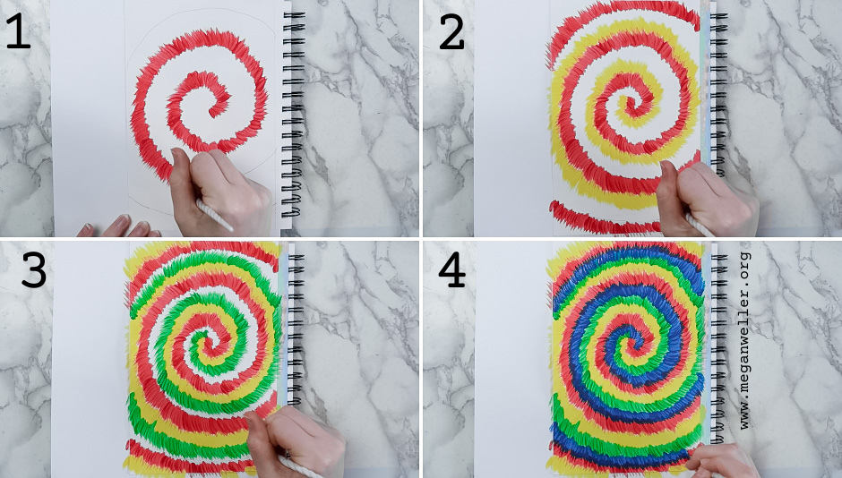 How to paint tie dye - use a flat brush to make small strokes following the spiral that you drew.