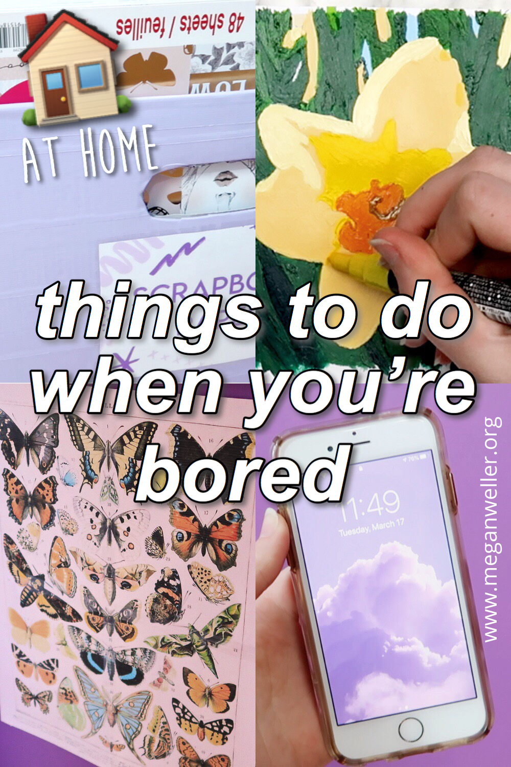 Things to do when you're bored Pinterest graphic