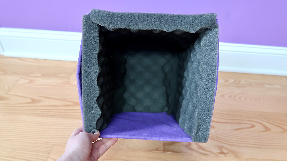 Placing the foam in a DIY Portable Sound Booth
