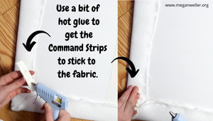 Use hot glue to get Command Hooks to stick to fabric!