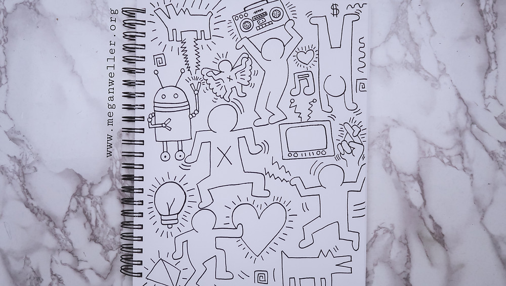 Black and white Keith Haring Inspired drawing.
