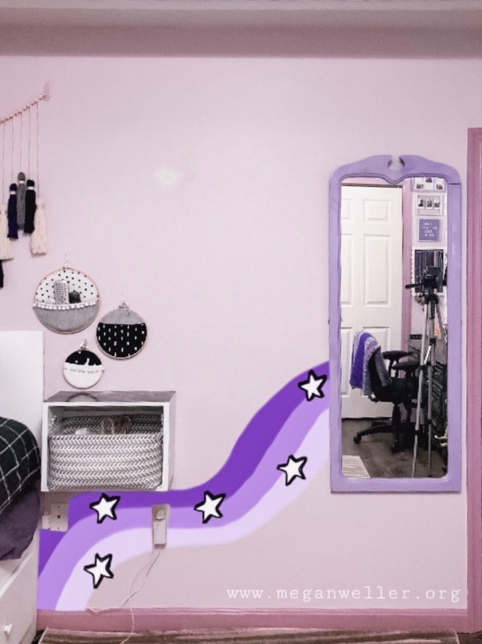 Digital rendering of a DIY Removable Wall Mural I wanted to make. This was made in the Autodesk Sketchbook app.